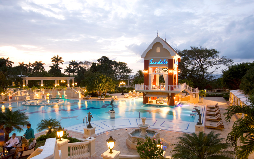 Ochi Beach Main Pool night